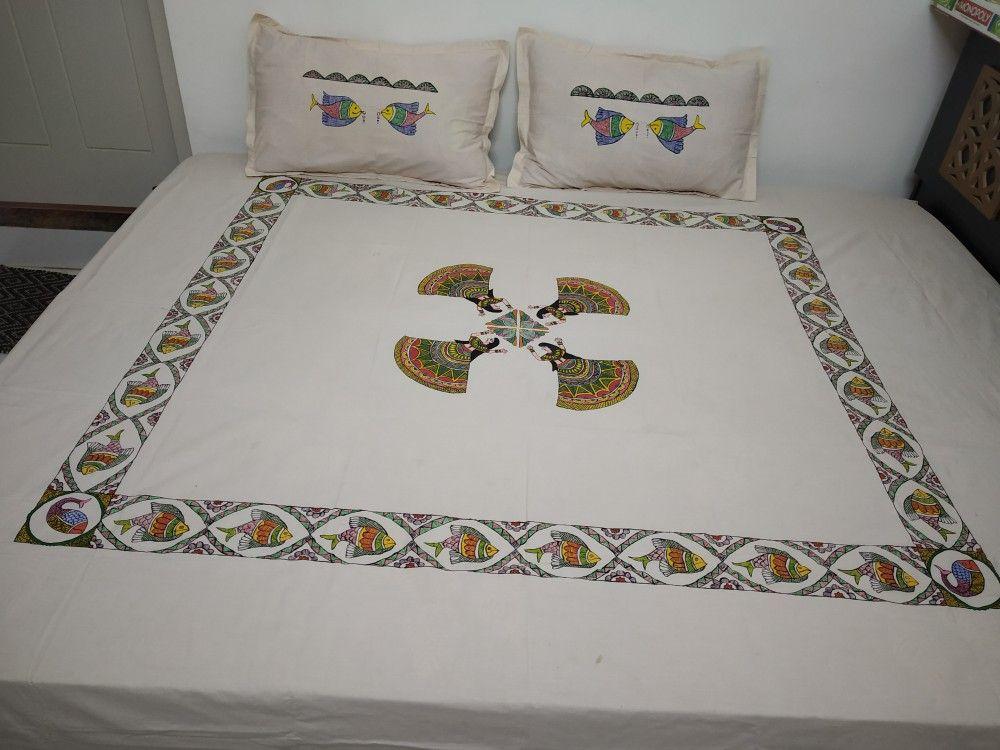 Madhubani Painting Madhubani Painting Bed Sheets Pillow Covers