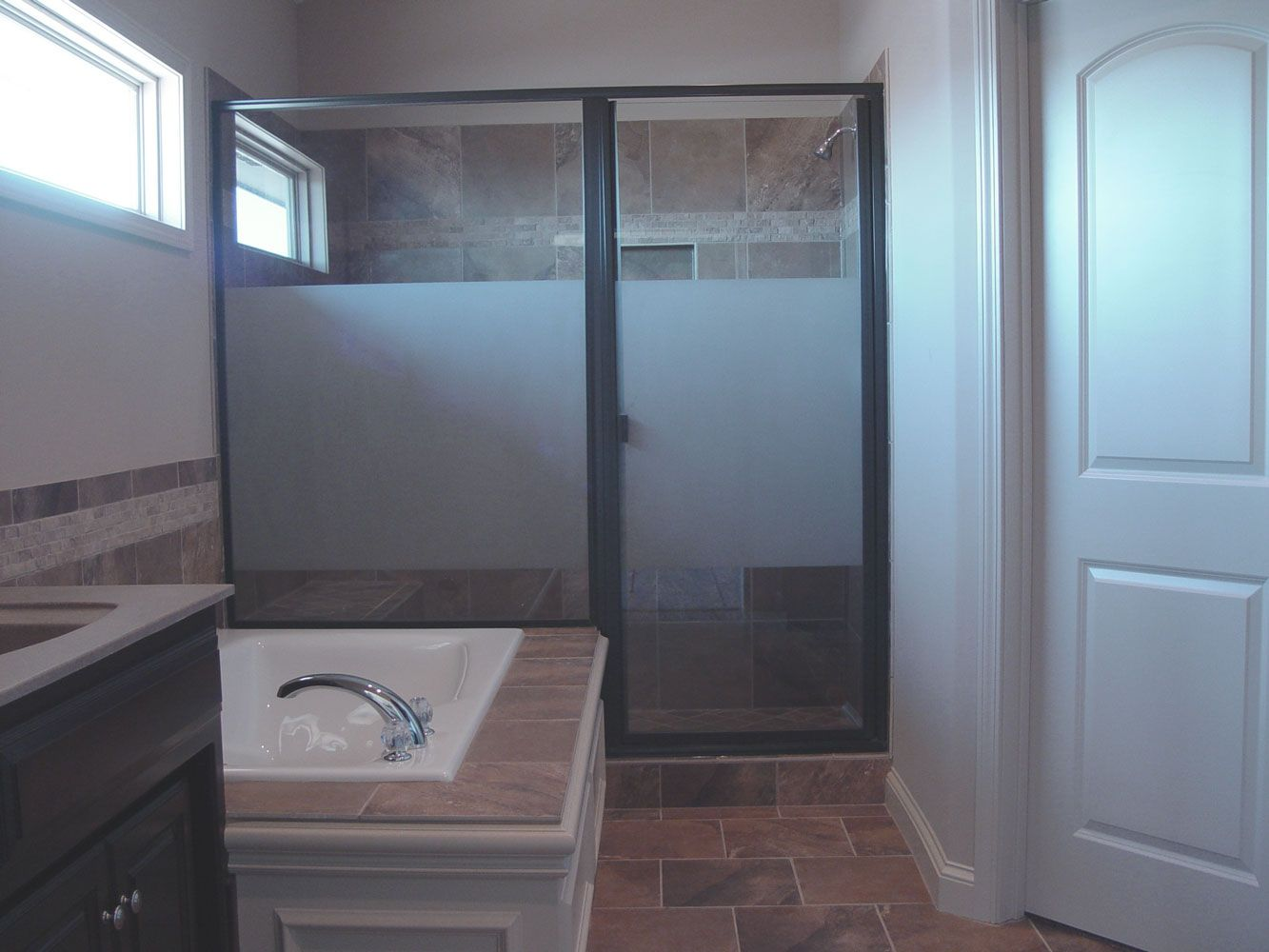 Shower door with privacy glass clearshield sealer price for Bathroom door ideas