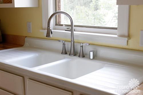 Cheap Kitchen Sink Professional Faucets Emily Drew Create A Charming 1940s Style On Budget Farmhouse Retro Renovation Like The Sides Built In Would Rather Have Single