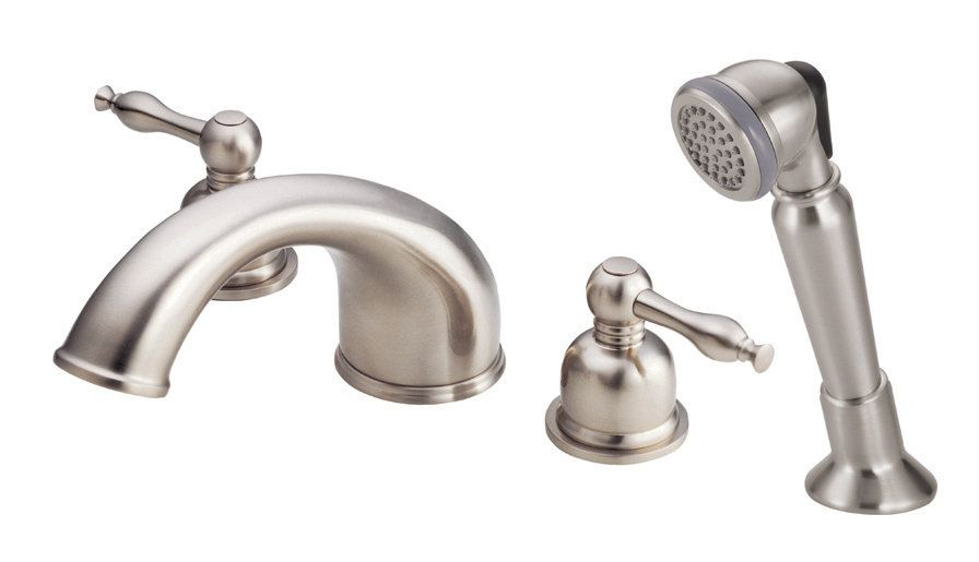 Double Handle Roman Tub Faucet With Metal Lever Handles And