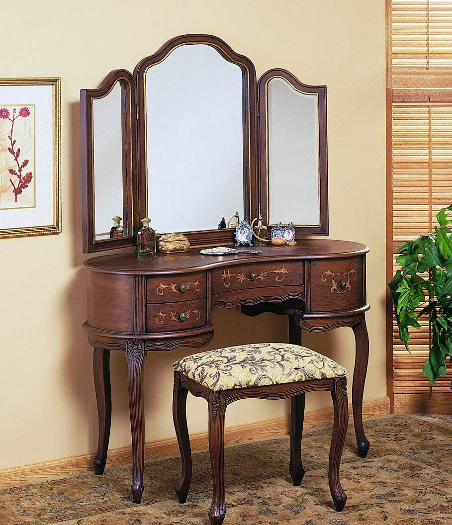 Antique Vanity Dressing Table with Mirror - Home Office Furniture Set Check  more at http: - Antique Vanity Dressing Table With Mirror - Home Office Furniture