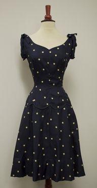 40er Jahre Navy Dot Kleid