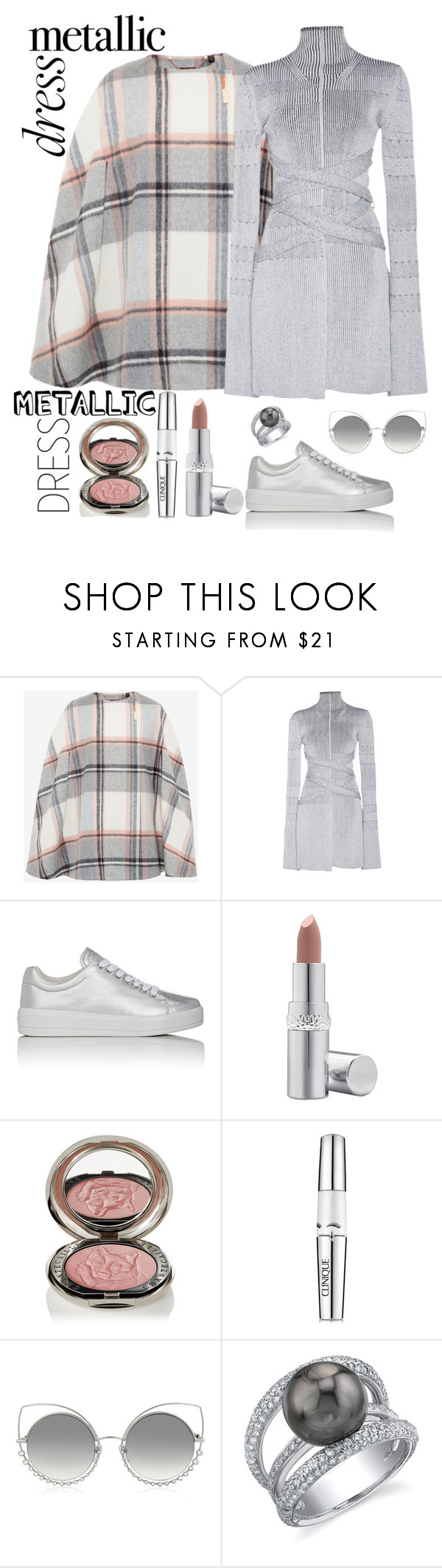 """""""Metallic Stuff"""" by loves-elephants ❤ liked on Polyvore featuring Ted Baker, Proenza Schouler, Prada Sport, La Prairie, Chantecaille, Clinique and Marc Jacobs"""