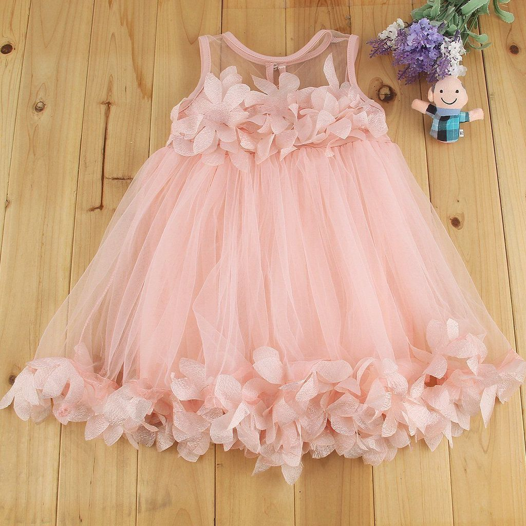 Baby Girls Toddler Flower Tutu Dress Kids Princess Party Wedding Birthday Dress