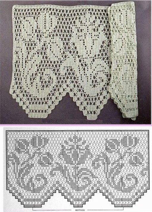 25 patrones para hacer bonitas cortinas a crochet - Puntillas para cortinas ...