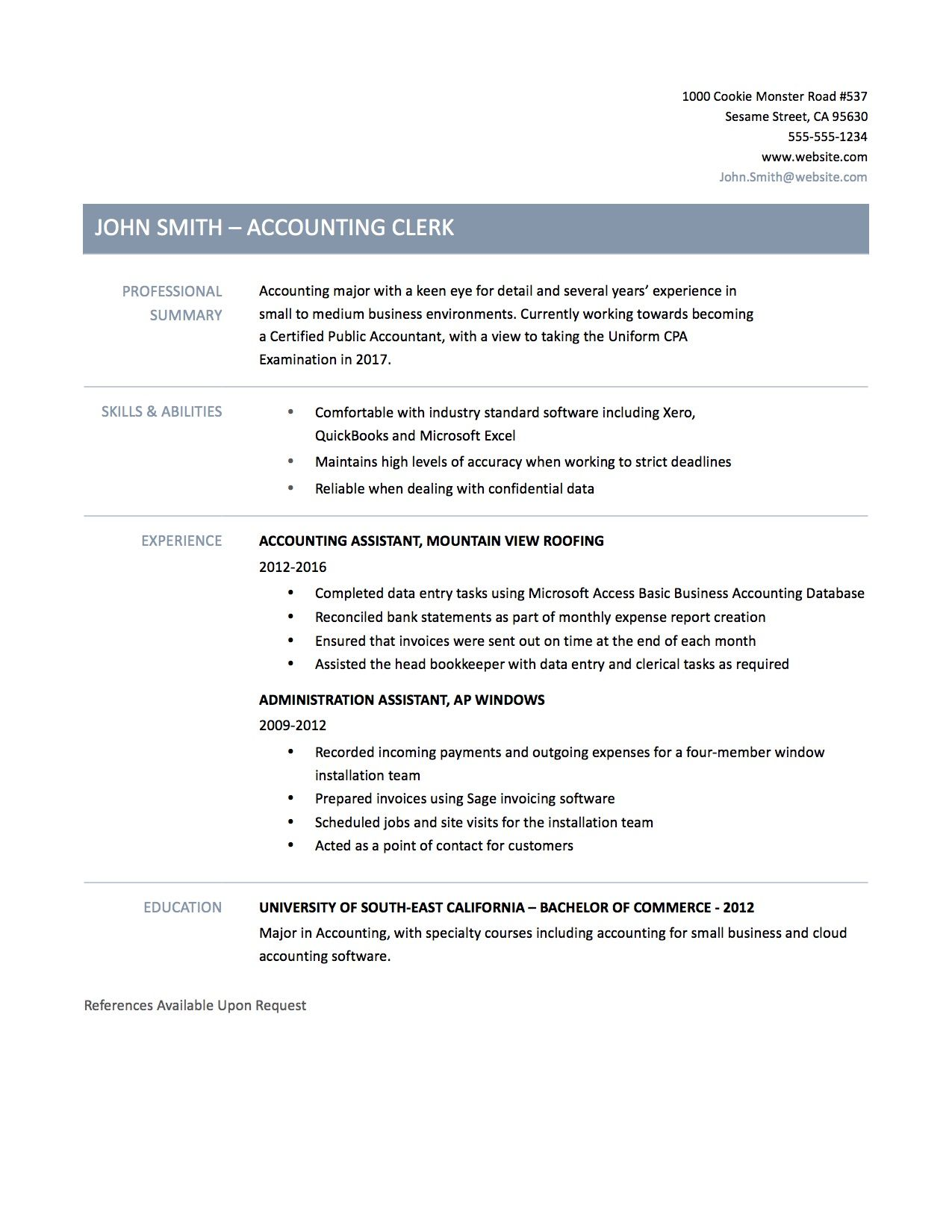 Doc Accounting Clerk Resume Sample Example Job Description