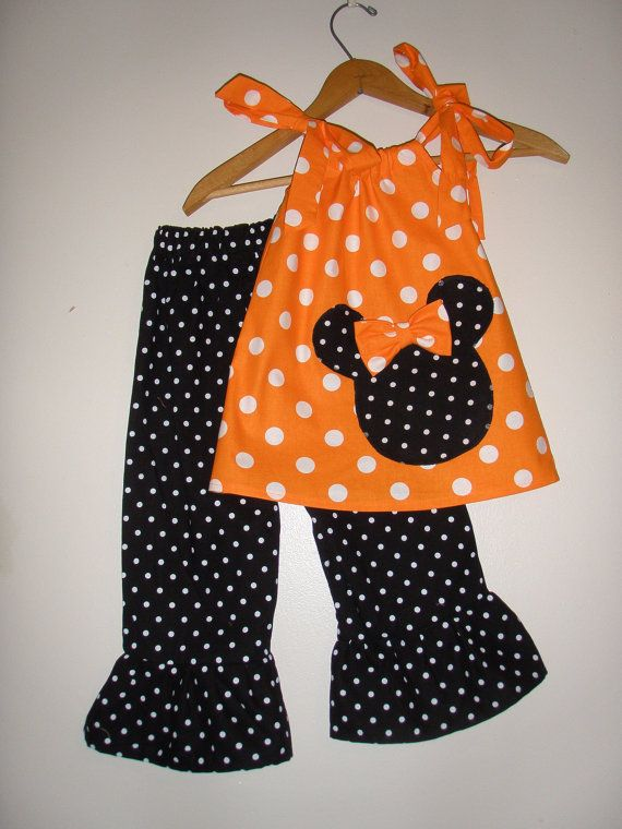 Minnie Mouse Orange polka dot swing top and ruffled pants | nähen ...
