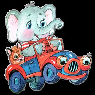 Elefante en carro
