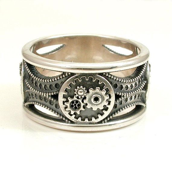 silver gear ring steampunk art deco mens by swankmetalsmithing 26000 - Steampunk Wedding Rings