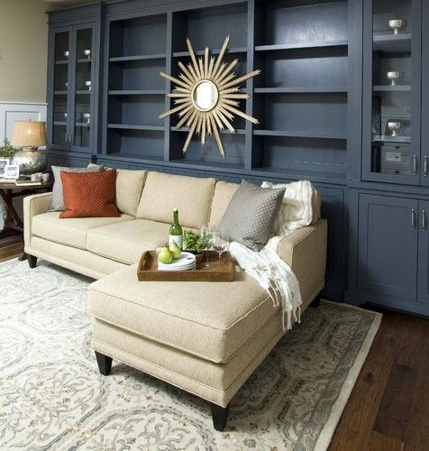 The Townsend Sectional By Rowe Furniture Looks Great In Front Of These Blue Built Ins