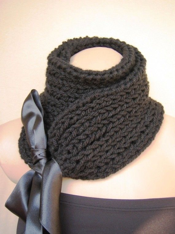 Black Scarf Cowl Neckwarmer Collar Shawl Christmas Gift for Her ...