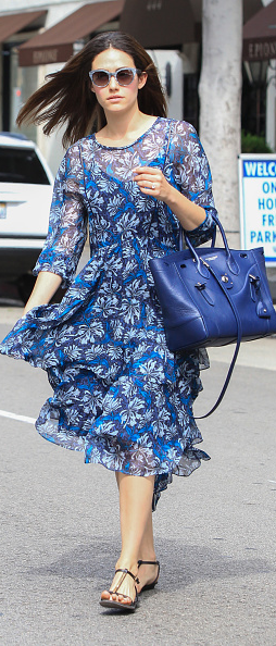 eae207a1d9 Emmy Rossum matches a blue Ralph Lauren Soft Ricky Bag while out and about  in Los Angeles.