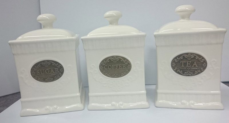French Country Elegant Kitchen Canisters, Tea, Coffee, Sugar Gold Labels  With