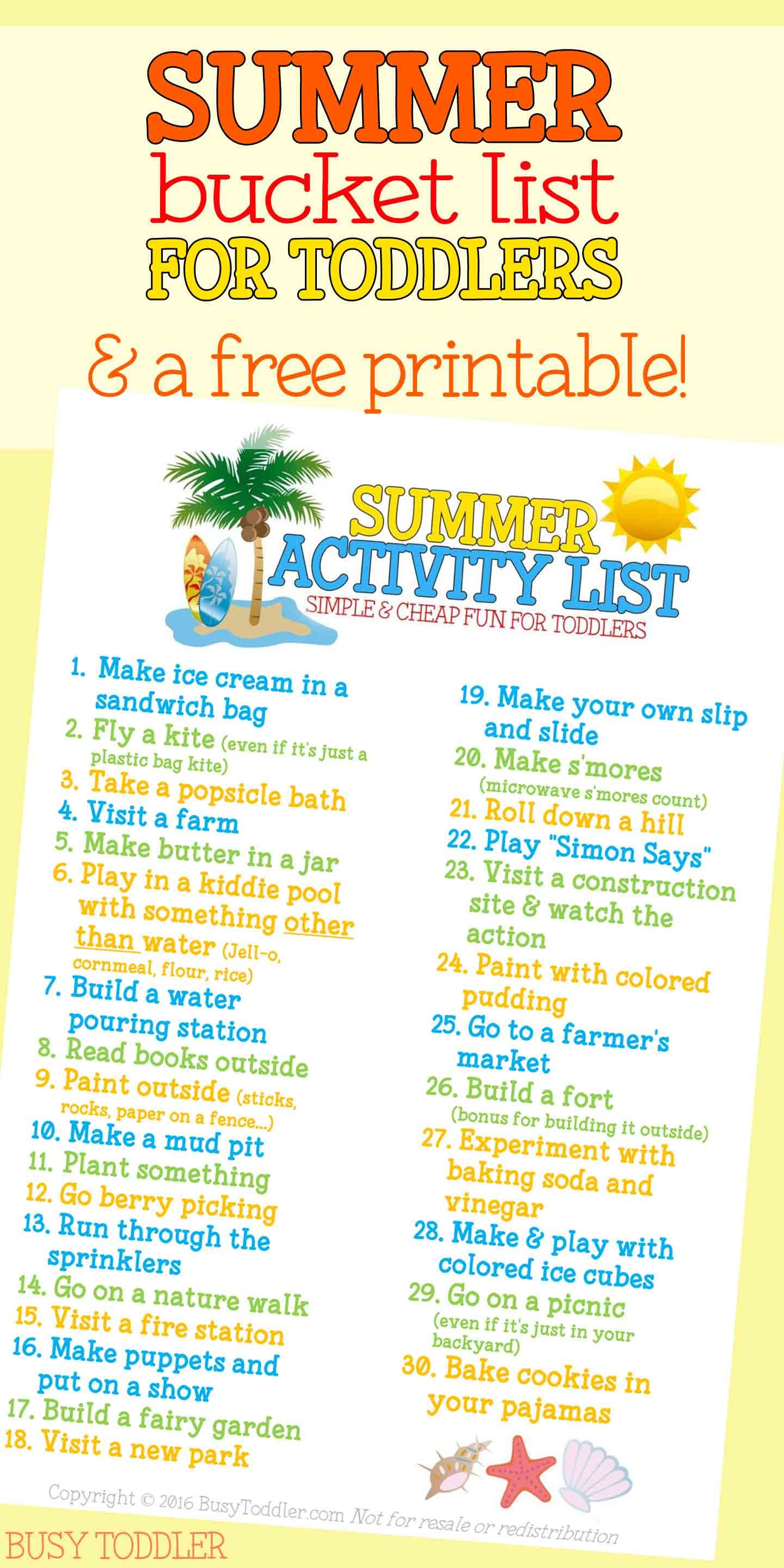 Summer Activity List for Toddlers | Summer/Outdoor Activities