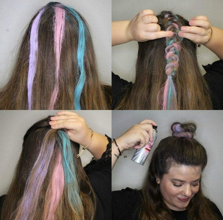 Bunte Haare Selber Machen Zu Fasching Die Moglichkeiten Im Uberblick Halloween Halloweenmakeup Regenbogen Frisuren E Haar Styling Bunte Haare Haarfarben