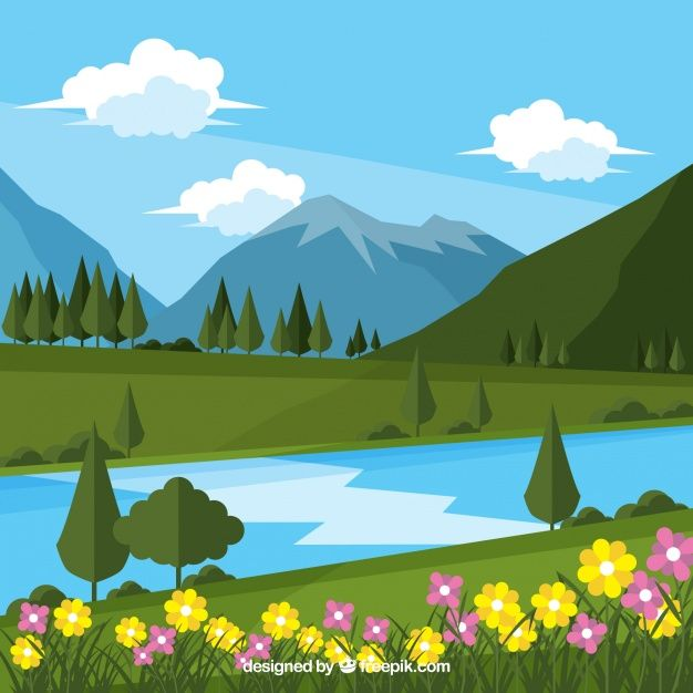 Download Landscape Flower Background And River With Mountains For Free Landscape Pictures Summer Backgrounds Landscape Background