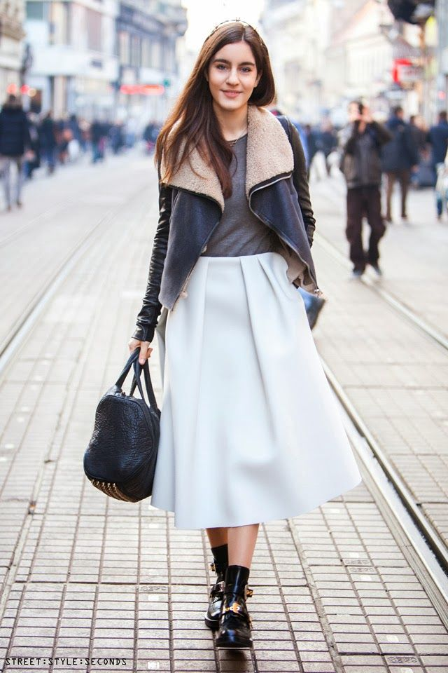 ways to wear #white in winter, #Acne midi skirt, #Balenciaga #Ceinture cut-out ankle boots