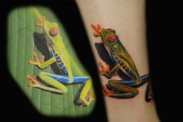 Tattoos Frog Ink Photorealism Frogtattoo Treefrog