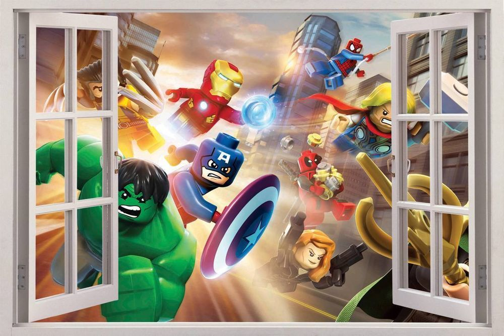 Lego marvel super heroes 3d window view decal wall sticker for Sticker mural 3d