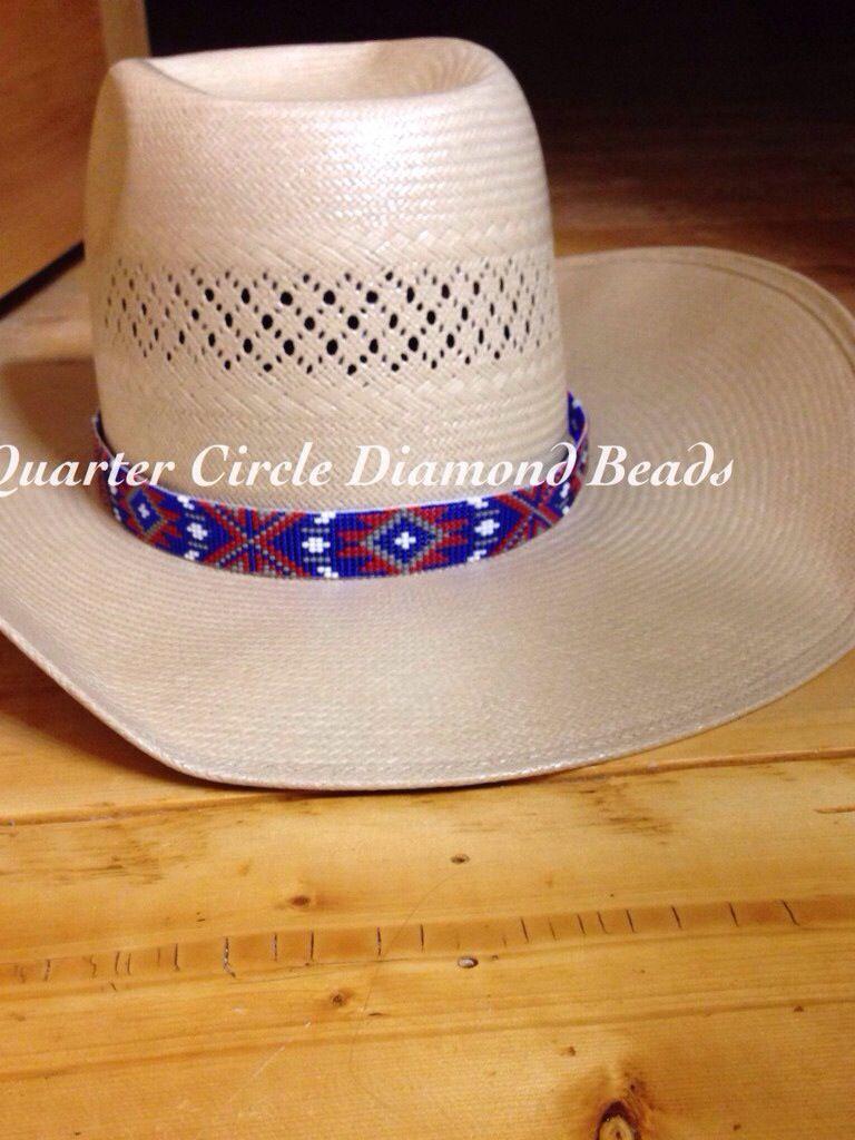 2e8ba592e76 Custom beaded hat band by Quarter Circle Diamond Beads on a American Hat Co  straw. Visit Facebook.com quartercirclediamondbeads