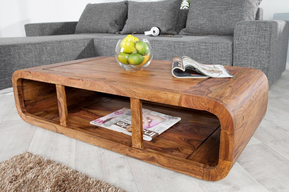 Massiver Couchtisch Curved 120cm Sheesham Holz Stone