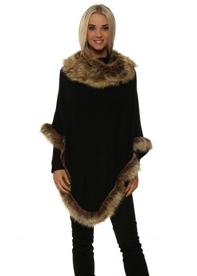8663e7a56 JAYLEY Black Natural Faux Fur Fine Wool Polo Poncho | Ponchos in ...