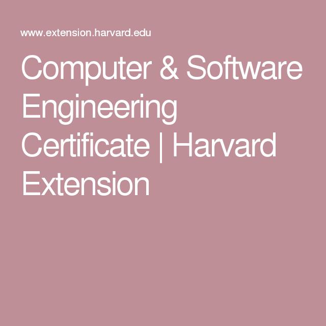Computer Software Engineering Certificate Harvard Extension