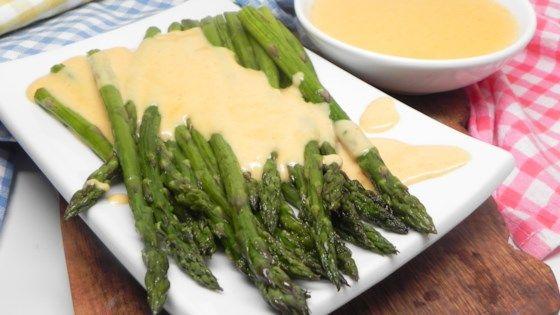 Roasted Asparagus with Smoky Gouda Cheese Sauce