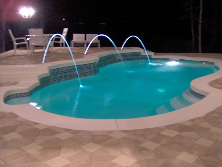 Laminar deck jets - lit with LED lights, love these! | Pool ...