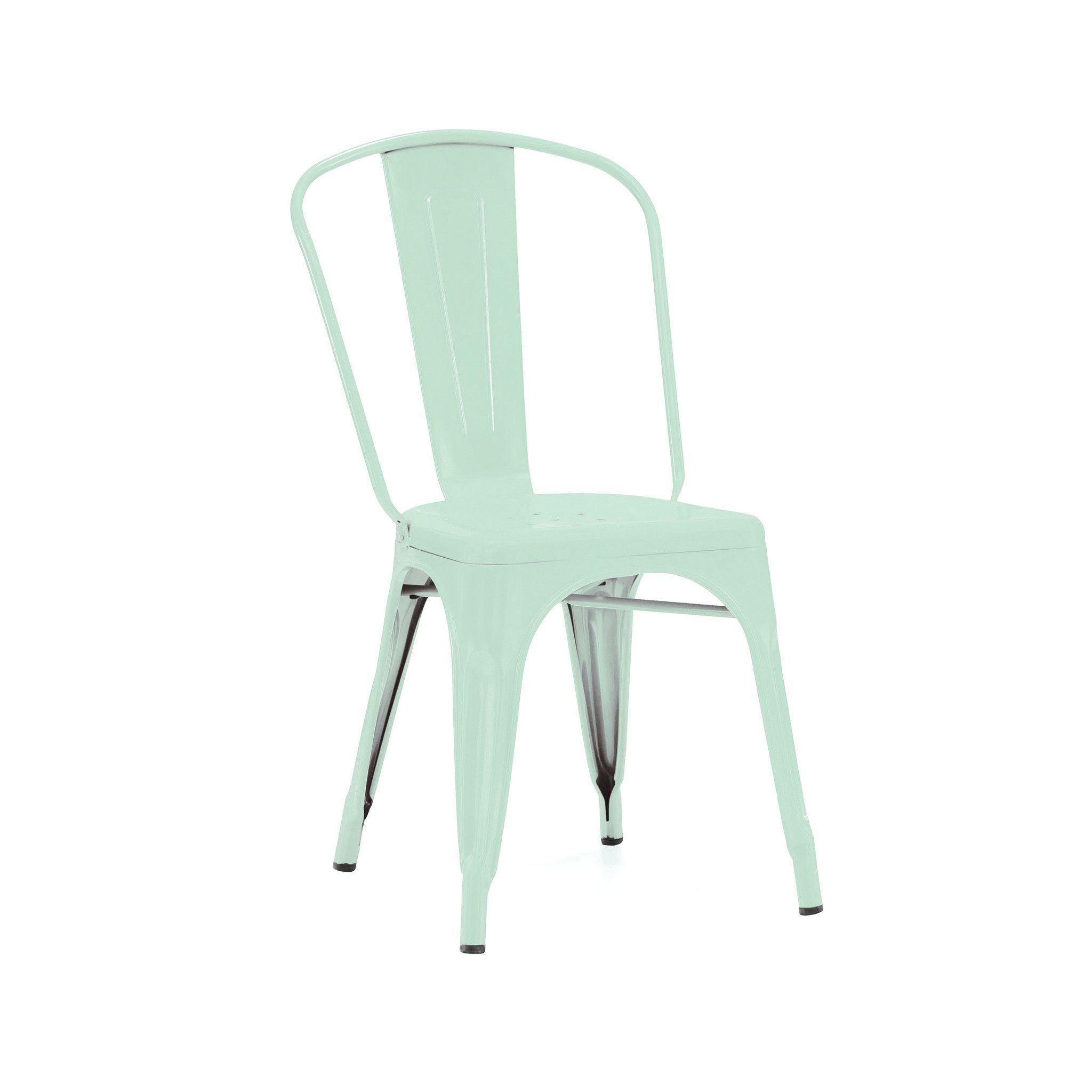 Dreux Stackable Matte Light Peppermint Steel Side Chair (Set of 4)