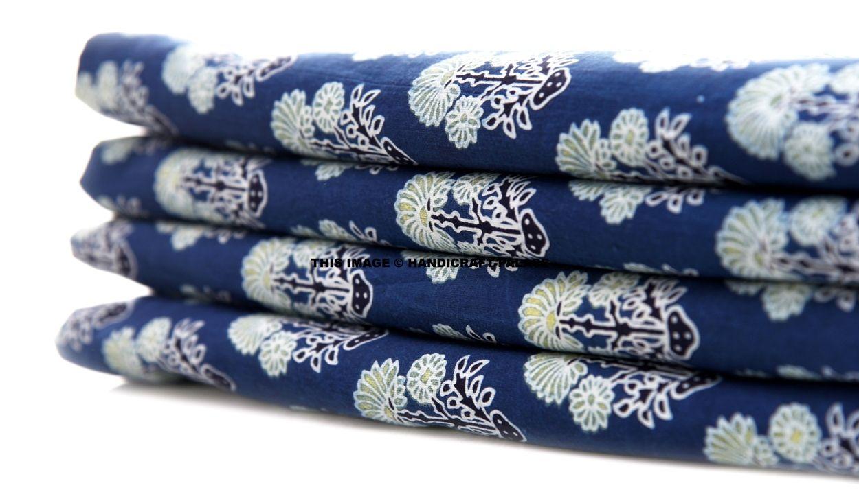 White on Blue Hand Block Print Handmade Indian Cotton Dressmaking Sewing Fabric