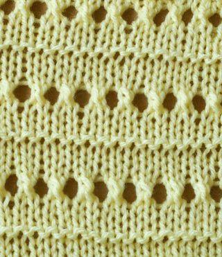 Different Knit Patterns : Knit stitch pattern - lace eyelet stripe. Different knit stitches / patterns ...