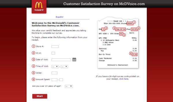 McDVOICE is McDonaldu0027s Customer Satisfaction Survey website to - customer satisfaction survey template