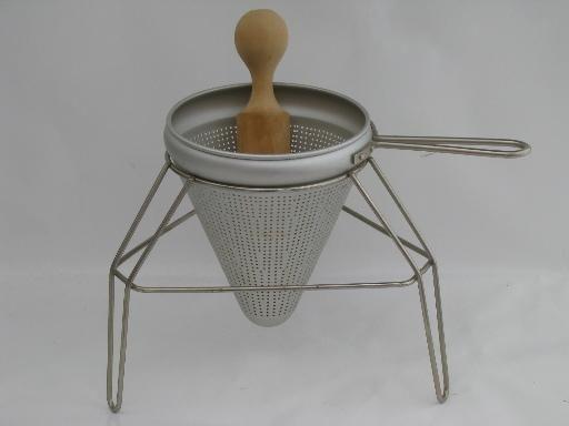 Tomato Strainer Sieve Juice Sauce or Jam Maker A Jelly Cone Shaped Juicer wMetal Pedestal Stand /& Wood Pestle Vintage Aluminium Fruit