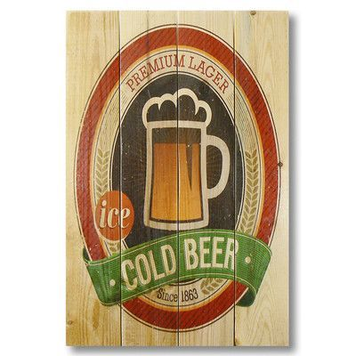 Gizaun Art 4 Piece Wile E. Wood Cold Beer Vintage Advertisement Set