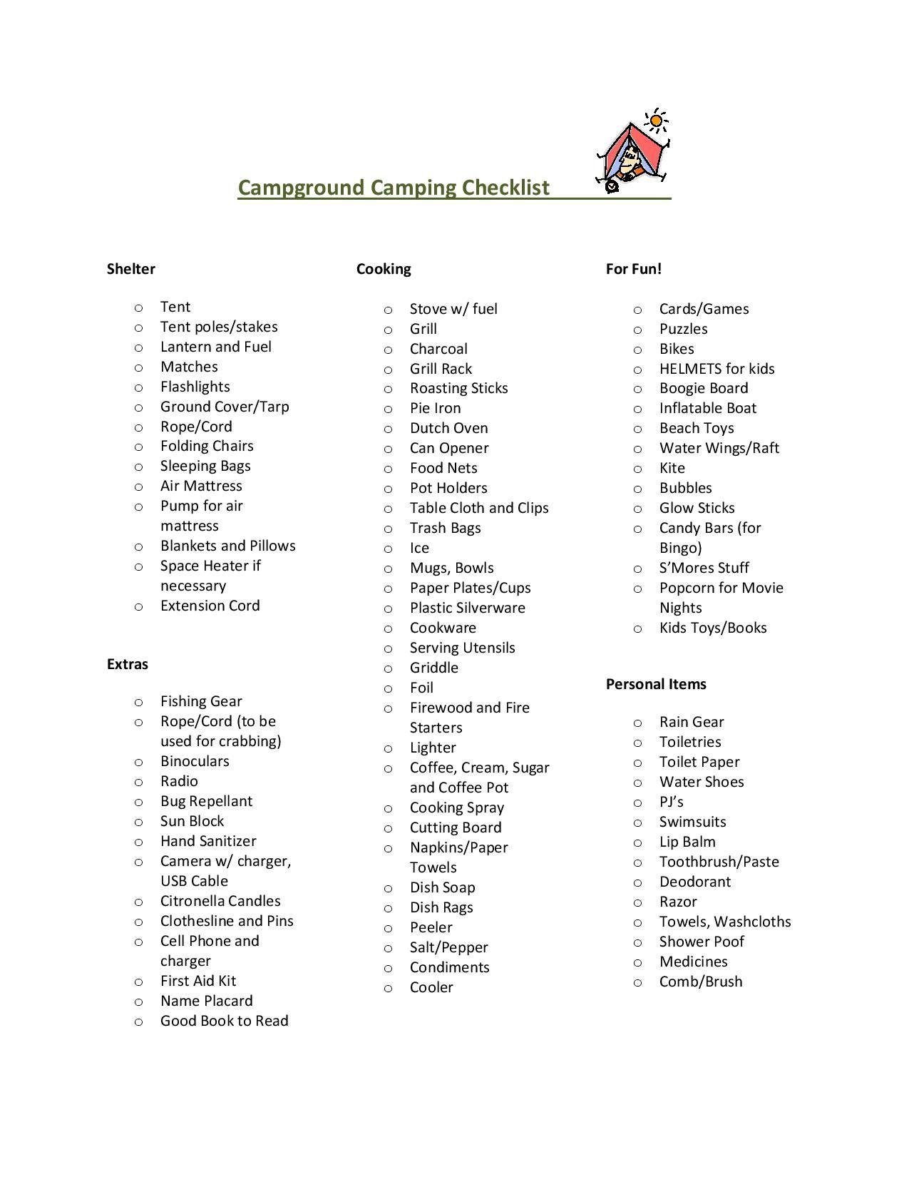 Campground Camping Checklist  Camping     Camping