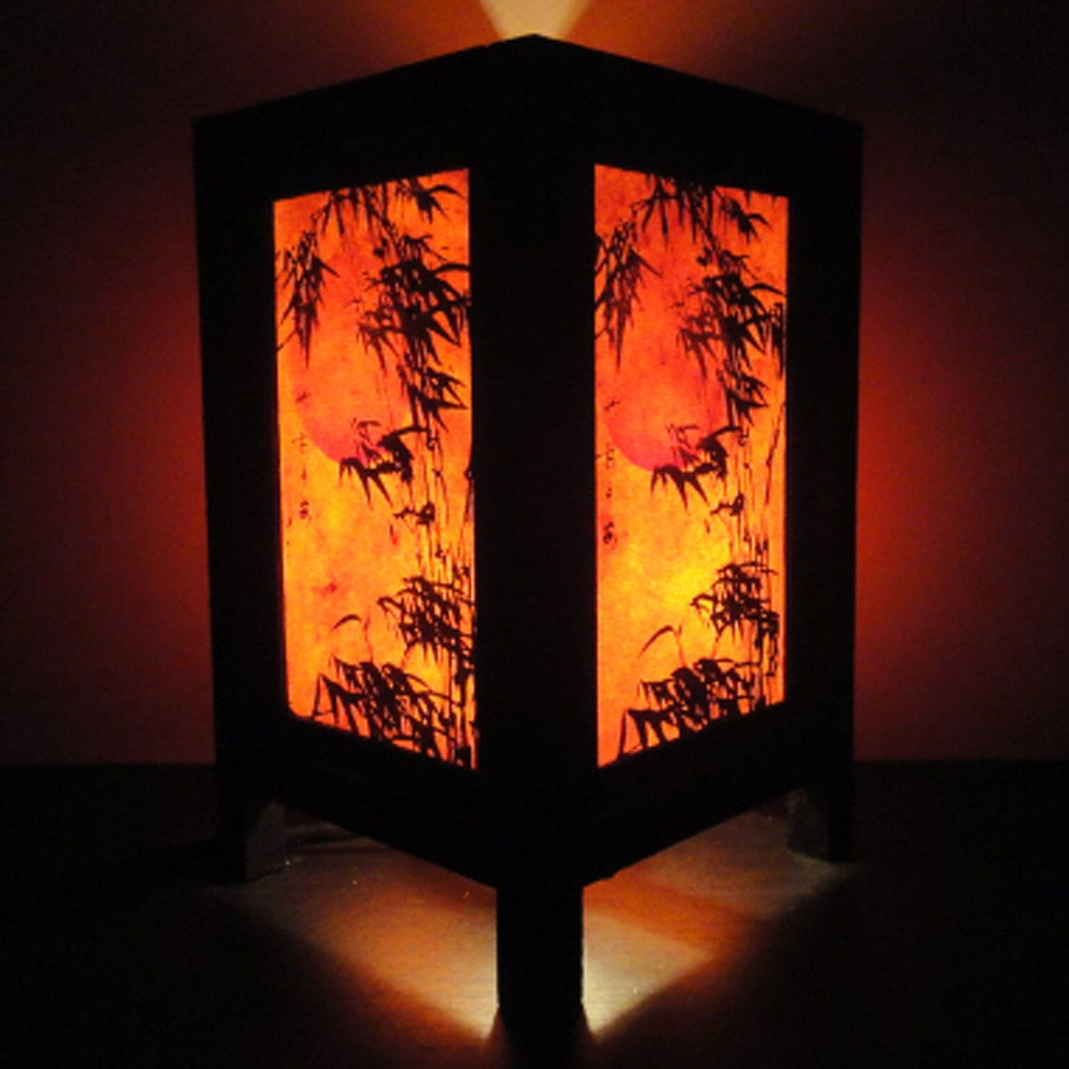 Asian Oriental Japanese Bamboo Dawning Art Bedside Table