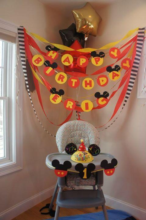 birthday banner with high chair set-up  Mickey 6st birthdays