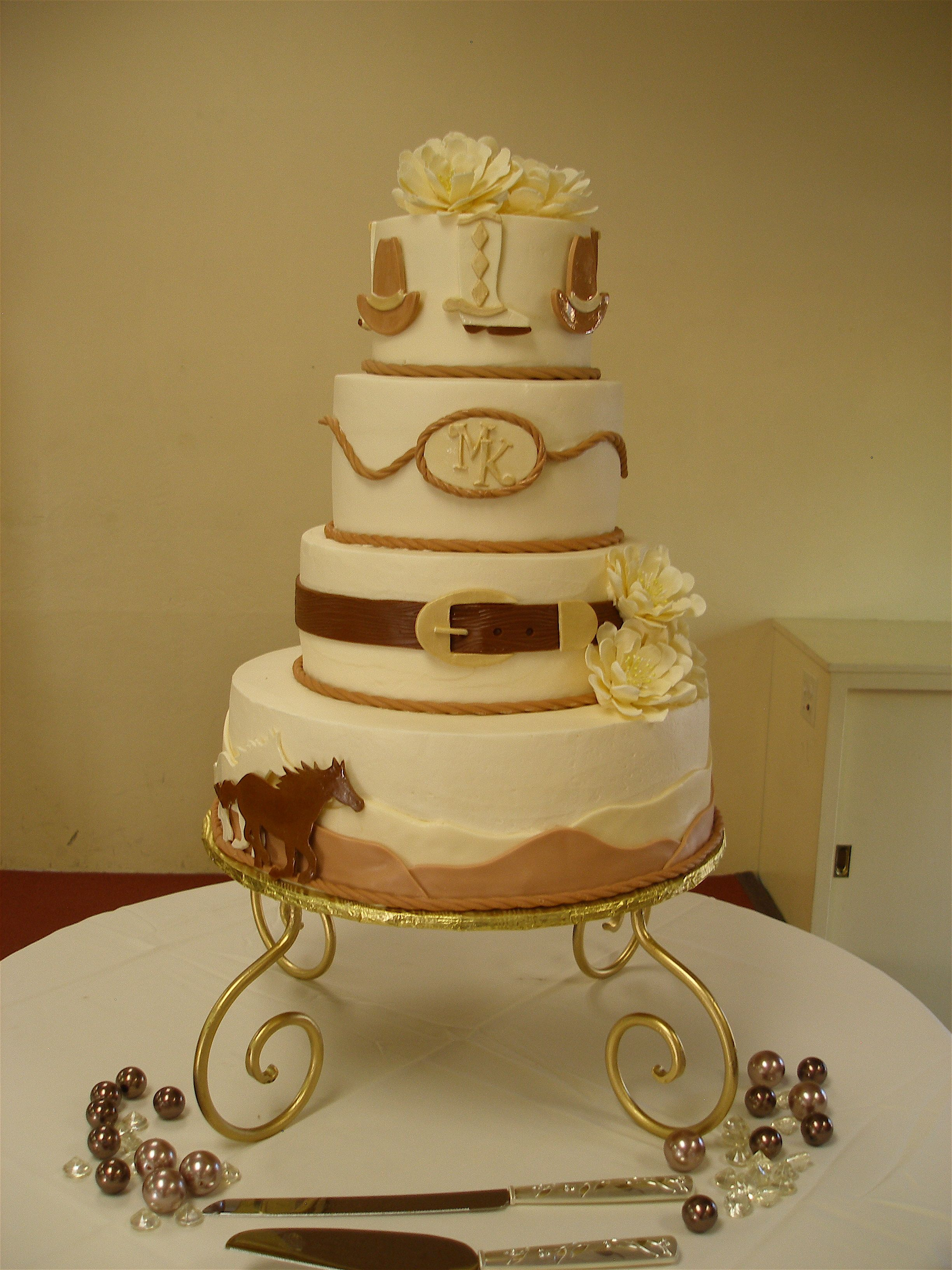 Western Theme Wedding Cake - To honor their families from Montana ...