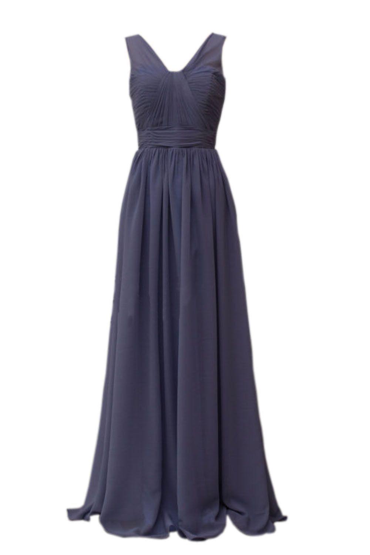 Dark Navy Chiffon V-neck Bridesmaid Dress for Wedding Am165 | Vestiditos