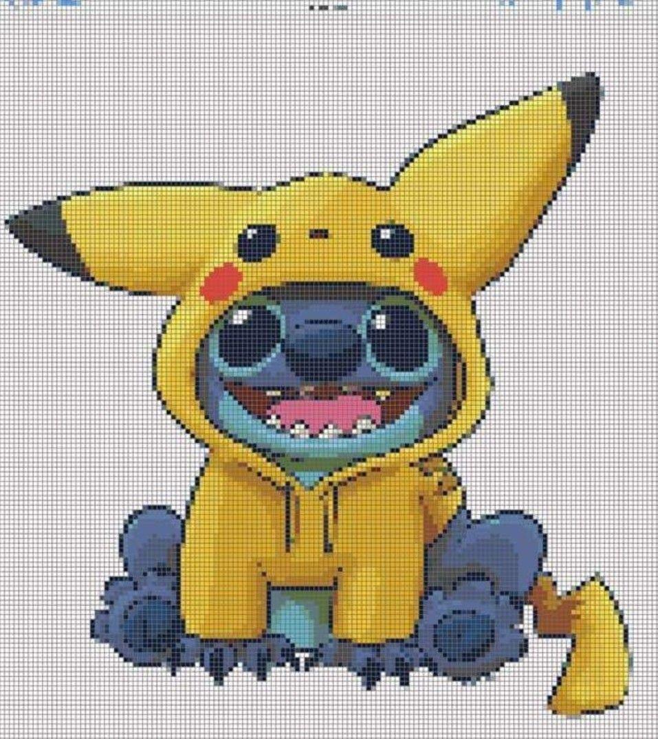 Stitch Wearing Pikachu Hoodie Disney Cross Stitch Cross Stitch Pictures Cross Stitch Patterns