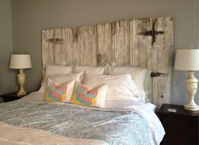 cabezales de cama lecho con cabezal de madera vintage idea simple para decorar una - Cabezales De Cama