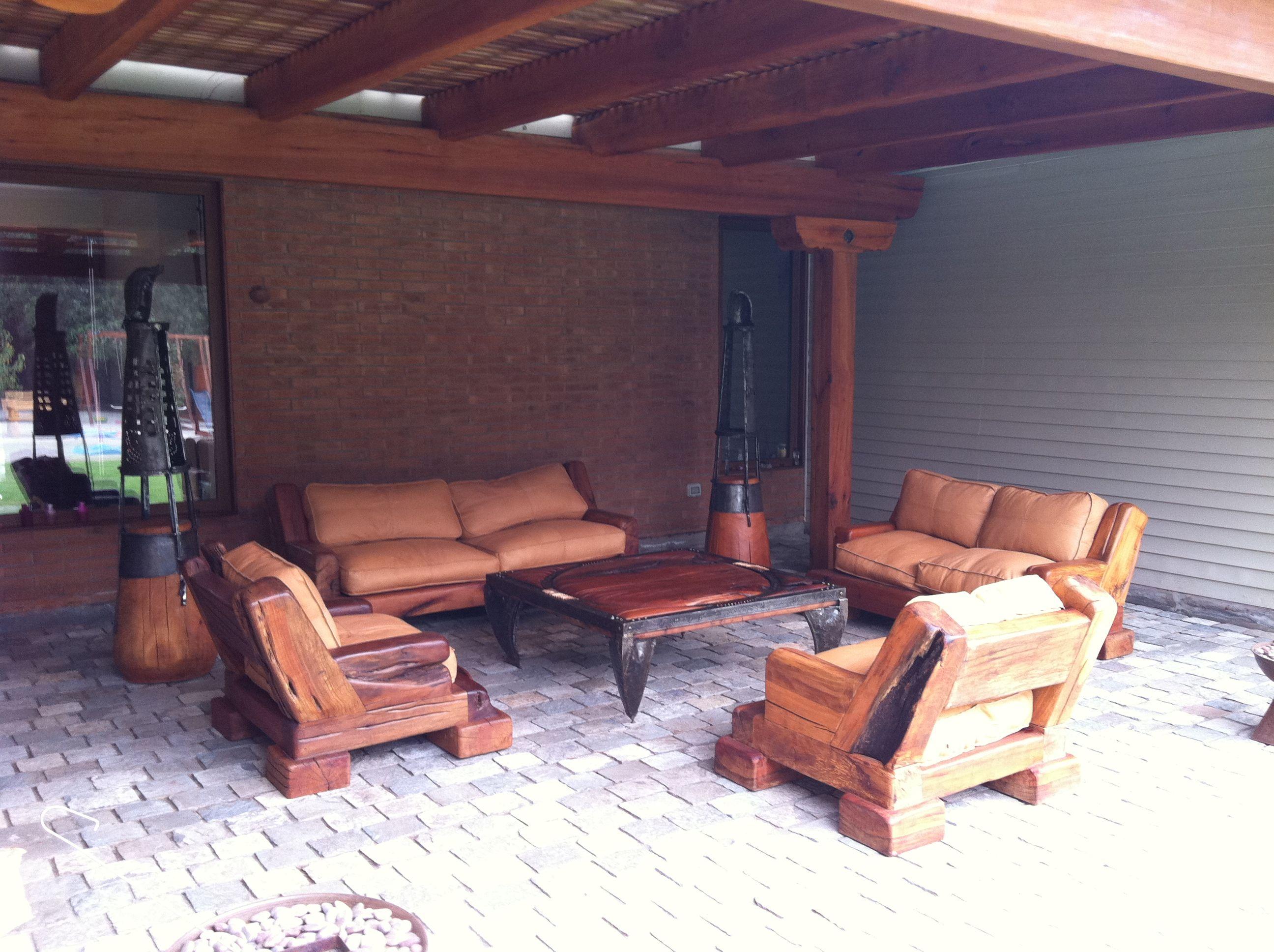 Pack de Sillones Red Wood de roble rústico con cojines de cuero ...