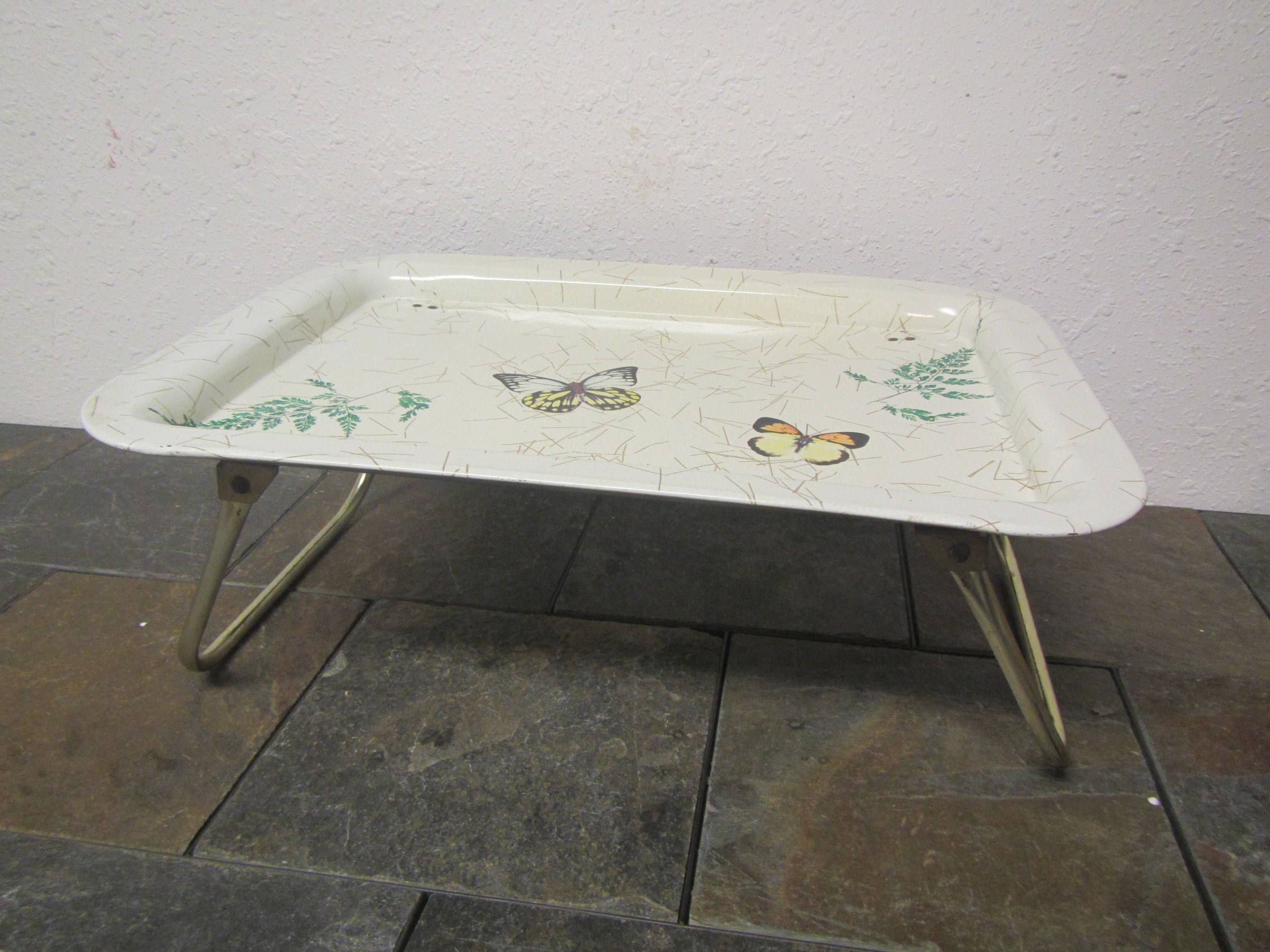 10 Off Metal Butterfly Lap Tray With Fold Up Legs Tv Tray Lap Tray Wheat Design Folded Up