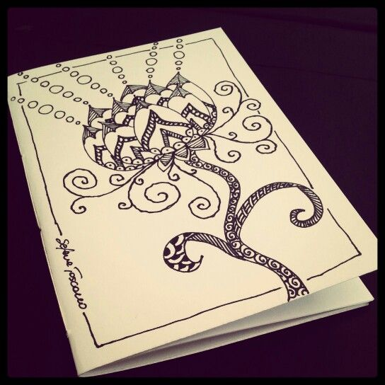 Notebook Cover Design : Illustrated notebook cover zentangle design diy