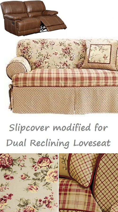 Dual Reclining Loveseat Slipcover T Cushion Shabby Toile Red Sure