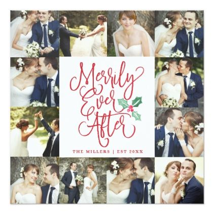 Merrily Ever After Wedding Holiday 12 Photo Card - Xmascards
