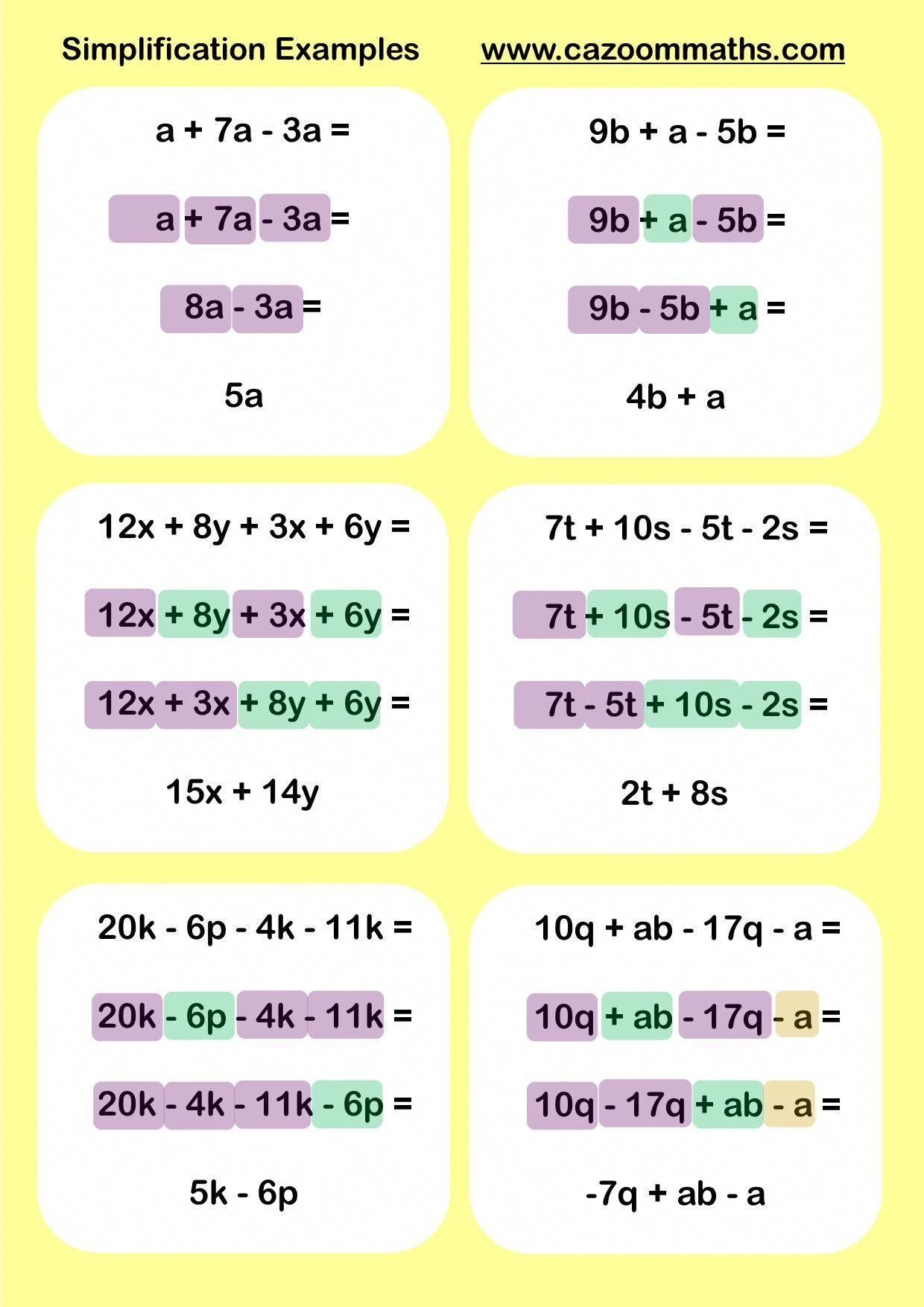 Simplification Maths Worksheets Cazoom Maths Worksheets Mathtricks Math Methods Math Resources Algebra Worksheets
