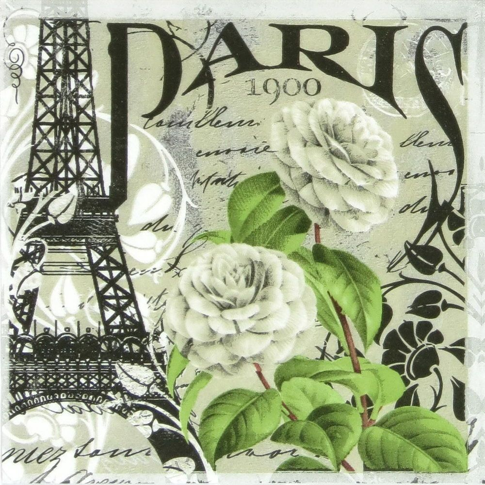 4x Paper Napkins for Party Romance in Paris Decoupage Decopatch Craft