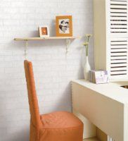 Peel and stick brick wallpaper on Amazon! :)